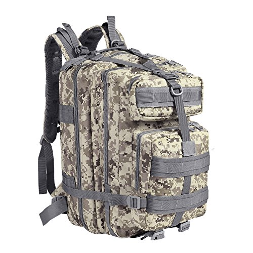 Flexzion Tactical Backpack (Arctic Camo) Large Army Assault Pack 40L w/MOLLE Gear Attachment System, Bug-Out Bag Daypack Rucksack for Outdoor Hiking Trekking Camping Hunting