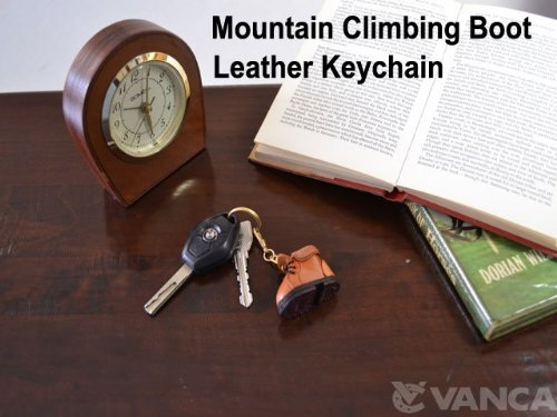 Mountain Climbing Boot Leather Sports KH Keychain VANCA CRAFT-Collectible keyring Made in Japan