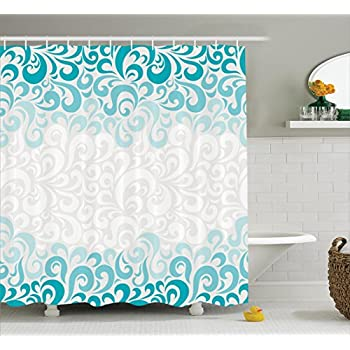 turquoise and coral shower curtain. Turquoise Shower Curtain Set By Ambesonne  Abstract Paisley Floral Flowers Pattern Waterdrops Design Aquatic Art Amazon com Decor by