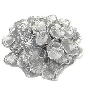 KUKUMOKA 1000pcs Silk Rose Petals Artificial Silk Flower Petals (Silver) 86