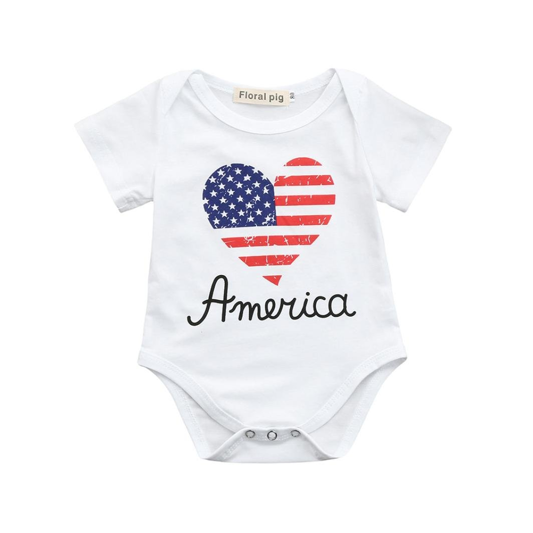 Lavany Baby Romper Cute Girls 4th of July Words Short Sleeve Cotton Jumpsuit Outfits