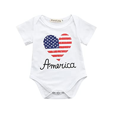 eed32c7a5bac Lavany Baby Romper Cute Girls 4th of July Words Short Sleeve Cotton Jumpsuit  Outfits (0