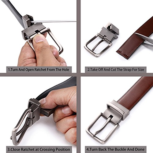 "Bulliant Genuine Leather Reversible Belt for Men Adjustable Size 1.25/"","