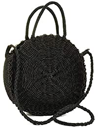 Round Rattan Bag for Women Handwoven Straw Bag Beach Crossbody Purse With Handbag