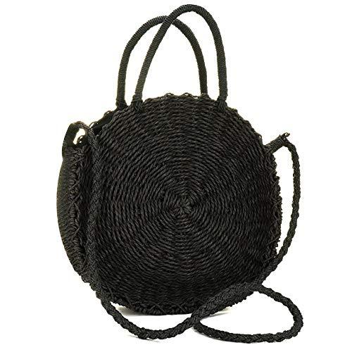 g Handwoven Rattan Bag Small Straw Woven Beach Bag, Straw Bag Beach Shoulder Bag for Women Weave Crossbody Bag (Black) ()