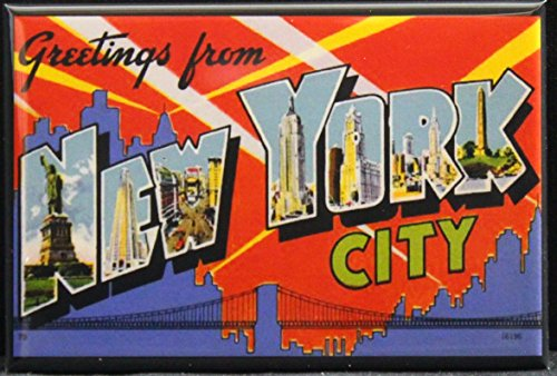Greetings From New York City Vintage Postcard Refrigerator Magnet.