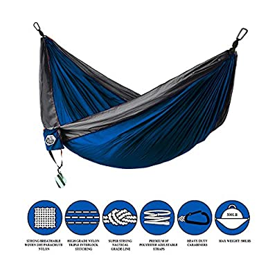 "GREENLIGHT OUTDOOR-Portable Parachute Nylon Double Camping Hammock-118""(L)x78""(W)- Ultra Lightweight Design for Camping,Hiking,Backpacking,Backyard,Beach with Free Tree Straps & Carabiners."