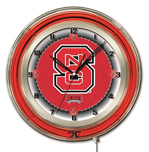 NC State Wolfpack HBS Neon Red College Battery Powered Wall Clock ()