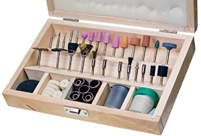 SE Rotary Tool Accessories Set with Wooden Case