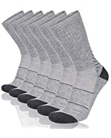 COOVAN Men's 6P-Pack Premium Athletic Crew Socks Men Thick Cushion Casual Work Sock With Moisture Wicking Grey 6 Fits mens shoe size 7-13