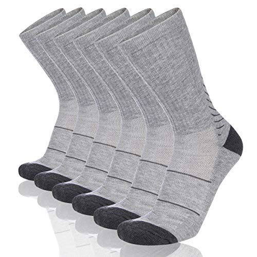 - COOVAN Men's 6P-Pack Premium Athletic Crew Socks Men Thick Cushion Casual Work Sock With Moisture Wicking Grey 6 Fits mens shoe size 7-13