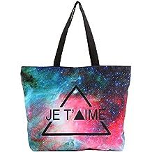 LaviniaLee Super Large Canvas Tote Beach Bag 3D Starry Printing Shopping Shoulder Handbag Satchel