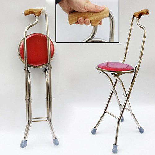 Folding Cane Seat Crutch Disability Medical Aid Lightweight Walking Stick With Seat Stool Chair-C by Wkkie