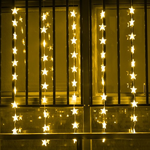 Surface Star Led (Star Curtain Lights, LEORX 50 LED 4ft Window Curtain Lights Waterproof for New Year Wedding Home Garden Indoor Outdoor, Warm White)