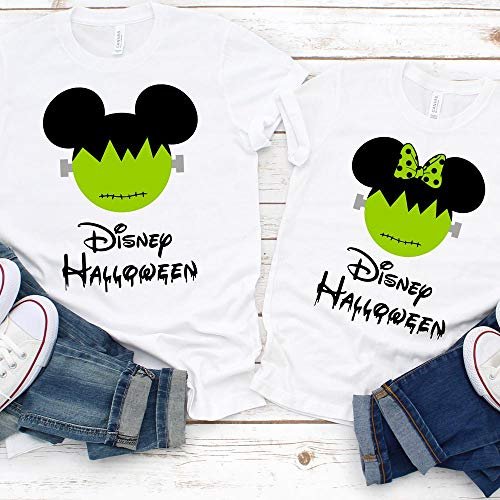 Disney Halloween T-Shirts Matching Vacation Apparel Shirts for Family Men Women Boys Girls Baby Frankenstein Mickey Minnie Ears Not So Scary Party