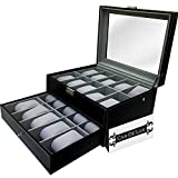 Luxury Watch Box 20 Velvet Pillow Slots, Premium Display Case With Framed Glass Lid, Elegant Contrast Stitching, Sturdy & Secure Lock - By Cas De` Lux