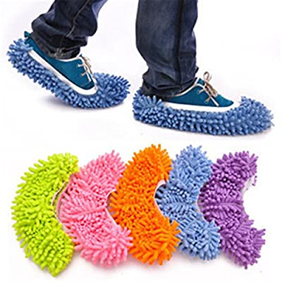 Zebratown 10pcs (5 Pairs) Dust Floor Cleaning Slippers Shoes Mop House Clean Shoe Cover Multifunction (Random Color)