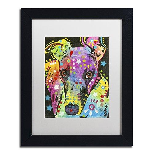 Curious Greyhound by Dean Russo, White Matte, Black Frame 11x14-Inch (Dog Art Greyhound)