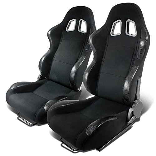 pair-of-full-reclinable-black-cloth-carbon-look-pvc-leather-type-r-racing-seat-adjustable-sliders