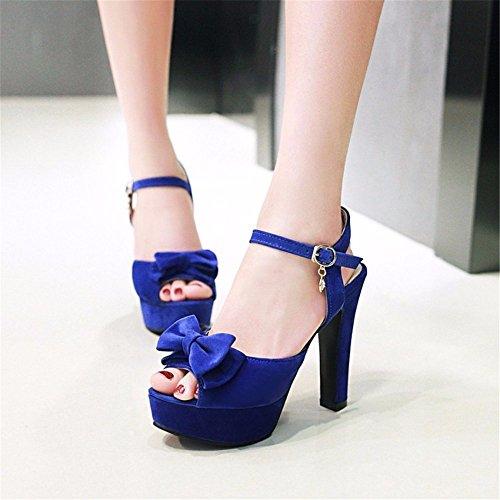 alto blue pelle alti da tacchi pesce bocca scamosciata fiocco scarpe dolce Estate sandali in tacco YMFIE donna fwq0HaH