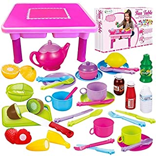 Toddler Folding Storage Table with Toy Dishes, Play Tea Set & Toy Food | 4-Set Plates, Cups & Utensils | Cutting Play Fruits & Knife | Kids Pretend Kitchen Accessories Cookware -Gift for Toddler Girls