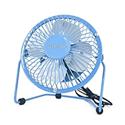 TekHome Mini 5-inch USB Table Personal Fan, Strong Wind w/ Quiet Operation, 360 Rotation Flexible Placement, Ultralight Metal Design, 3.3ft USB Cable Powered, Make You Cool As A Cucumber.(Blue)