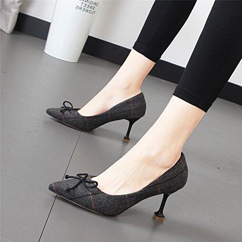 Xue Qiqi Punta fina y elegante y los singles femeninos zapatos Zapatos de moda Pajarita Conmutar cuadrícula de alta Heel Shoes Gris