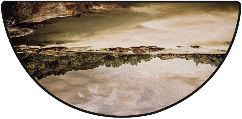 36 x 72 Half Round Door Mat,Saturated Nature Photo of Cloudy Storm Sky and River Image Outdoor//Indoor Entry Rug,for Home Kitchen Office Standing Desk Mats,Eggshell Caramel Olive Green