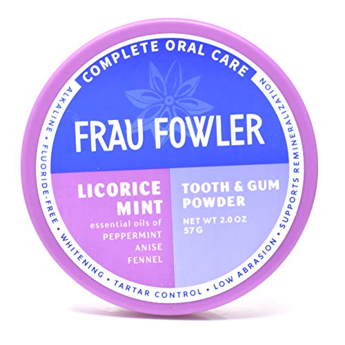 Frau Fowler Natural Oral Care - LICORICE MINT Tooth Powder, Botanically Clean, Teeth-Whitening, Remineralizing, Fluoride Free, Gluten Free, SLS Free -Restores Enamel and Freshens Breath, 2 oz