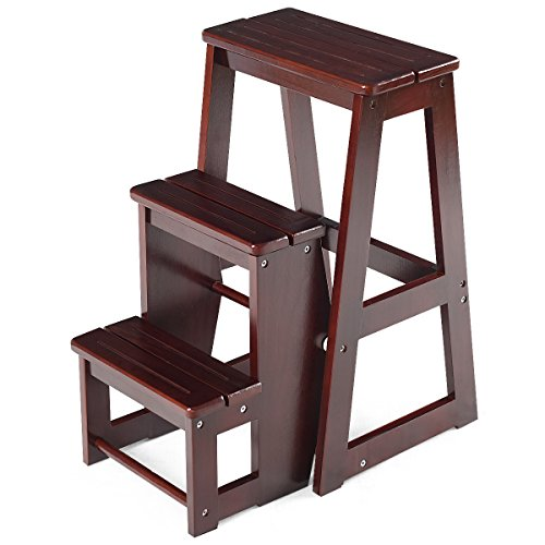 (Costzon Folding Step Stool 3 Tier Wood Ladder (Dark nut-Brown))