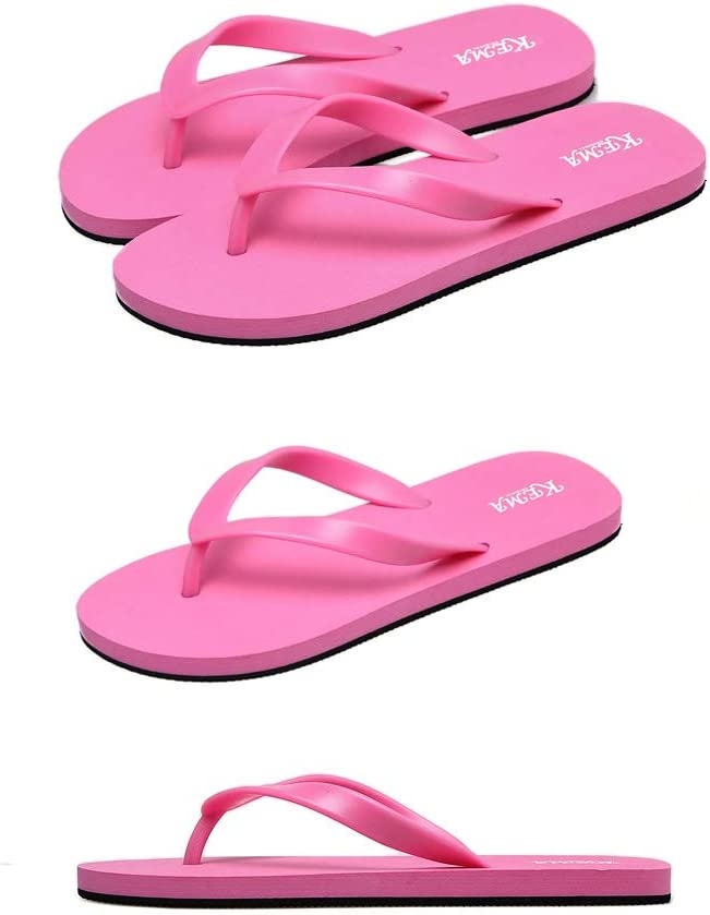 YNJK Candy-Colored Womens Sandals Beach Shoes High-Elastic Comfortable Flip-Flops,Rosered,6.5US