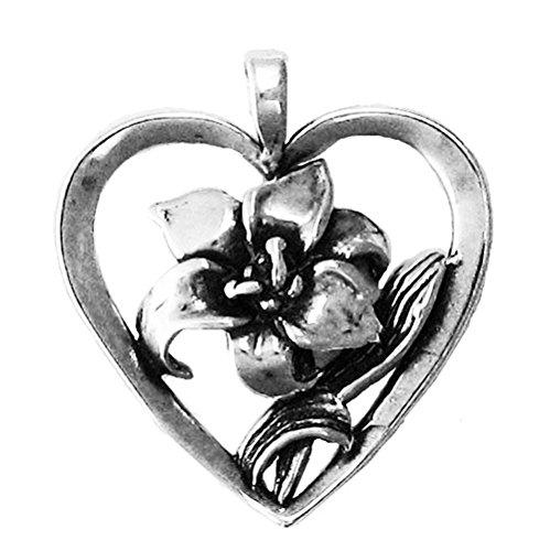 (925 Sterling Silver Heart W / Flower Lily Love Pendant)