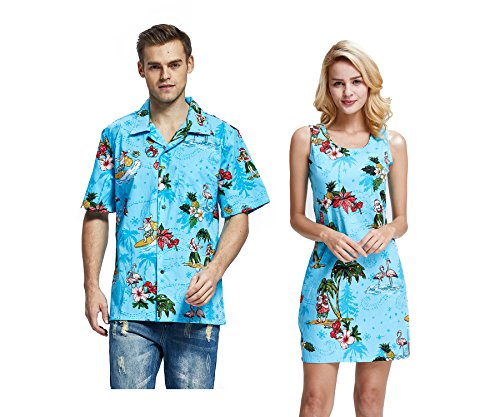 Hawaii Hangover Couple Matching Hawaiian Luau Cruise Christmas Outfit Shirt Dress Santa Turquoise Men L Women M