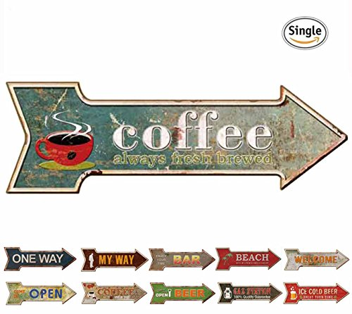 HANTAJANSS Coffee Signs with Always Fresh Brewed Arrow Tin Signs for Cafe (Vintage Coffee Signs)