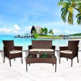 Cloud Mountain 4 Piece Rattan Furniture Set Patio Conversation Set Sectional Wicker Rattan Furniture Outdoor Garden Lawn Sofa Cushioned Set