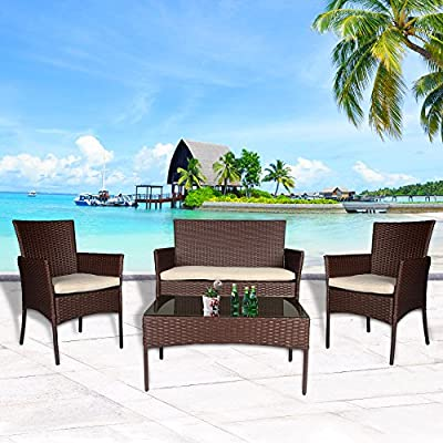 Cloud Mountain 4 Piece Rattan Furniture Set Patio Conversation Set Sectional Wicker Rattan Furniture Outdoor Garden Lawn Sofa Cushioned Set - EASY ASSEMBLE: 1 love seat, 2 single sofas, 1 tempered glass top table, 3 seat cushions. Easy assembly required all hardware included. HQ MATERIAL: Wicker set is constructed of strong powder-coated steel frame and hand knitting PE rattan wicker outside. Light enough to remove. EASY CLEAN: Comfortable sponge padded cushions covered with removable polyester covers, which allow for easy cleaning and maintenance. - patio-furniture, patio, conversation-sets - 515Gd6YBZWL. SS400  -
