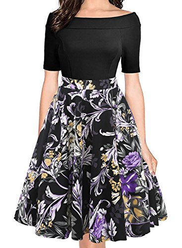 oxiuly Women's Elegant Off Shoulder Pockets Floral Casual Dresses Party Cocktail Summer Swing Dress OX232 (XXL, Black Purple)