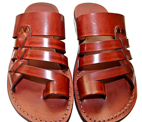 Brown Skate Unisex Leather Sandals / Genuine Handmade Leather Holy Land Biblical Jesus Sandals (EURO  41)