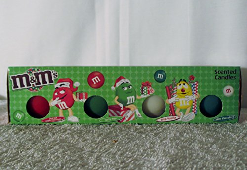 Star Brite Chocolate - M & M Rare Set of 4- 2 oz Scented Candles from Mars 2010 Christmas Edition Red Hot Apple cinnamon ,Tarty Pear ,Crisp Vanilla & Mint Chocolate