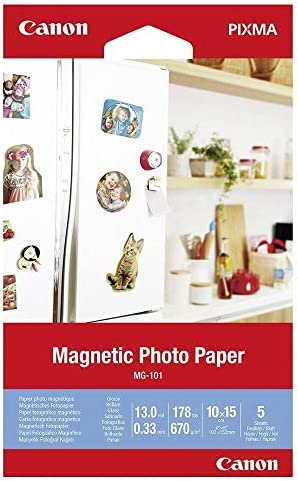 Canon Fotopapier MG-101 Magnetisches Papier - 10x15 cm 5 Blatt für Tintenstrahldrucker Glänzend für PIXMA Drucker