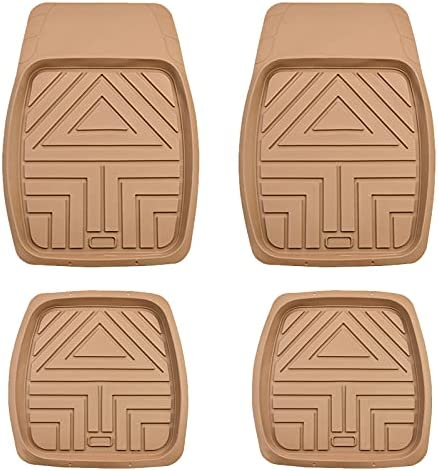 August Auto All Weather Universal Fit Heavy Duty Rubber Floor Mats for Car,SUV ,Truck ,Set of 4(Beige)