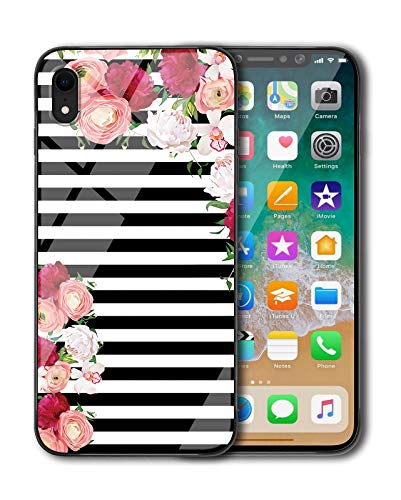 KITATA iPhone XR Case for Girls [Slim Fit], Black and White Stripes Flowers - Rose Floral Art Print Design for Women, Shockproof Impact Resistant Drop Protection Protective TPU Silicone