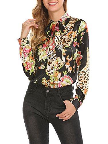 Pinspark Women's Fashion Collar Long Sleeve Print Casual Button Down Blouse Shirt (XL, Black-Satin)