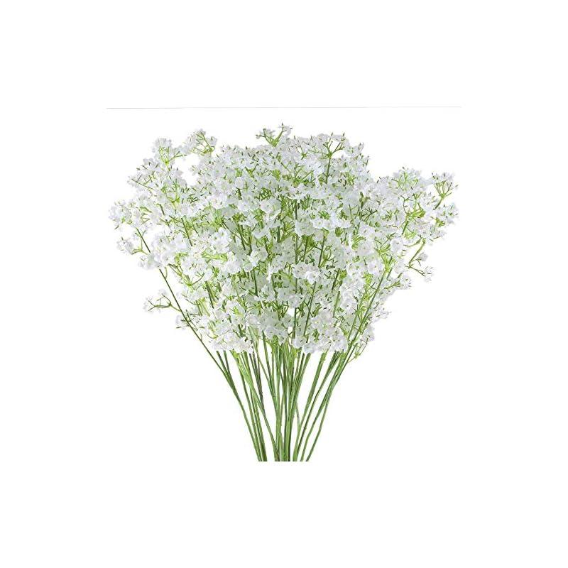 "silk flower arrangements hauserlin 20 pcs baby's breath flowers 16"" artificial gypsophila bouquets real touch flowers for wedding home garden diy décor hotel table decoration"
