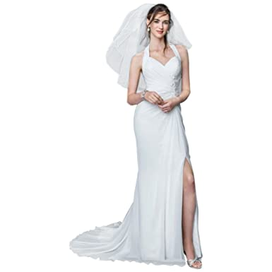 becc25110979 Sample: Chiffon Gown with High Slit and Halter Tie Back Style AI10020513,  White,