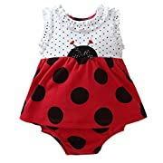 Momsbabe 100%Cotton Baby Romper for Girls, Cute Ladybug Pattern Babies Dress (6-9 Months, Red)
