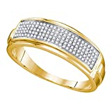 Yellow-tone Sterling Silver Mens Round Natural Diamond Band Wedding Anniversary Ring (.25 cttw.) (I2-I3)