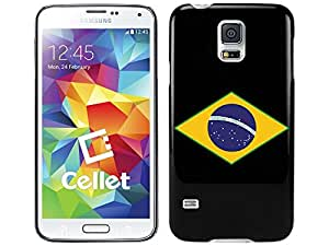 Cellet Black Proguard Case with Brazil Flag 02 for Galaxy S5