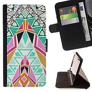 Momo Phone Case / Flip Funda de Cuero Case Cover - Patrones de arte colorido Espiritual - LG OPTIMUS L90