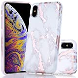 BAISRKE Shiny Rose Gold White Marble Design Slim Flexible Soft Silicone Matte Bumper Shockproof Gel TPU Rubber Glossy Skin Cover Phone Case for iPhone Xs Max 2018 [6.5 inch]